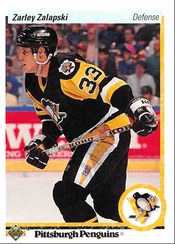 1989-90 Pittsburgh Penguins Game Used Away Jersey Photo Match Card