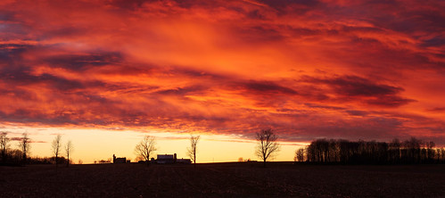 sunset landscape panorama farm fields stjacobs ontario canada