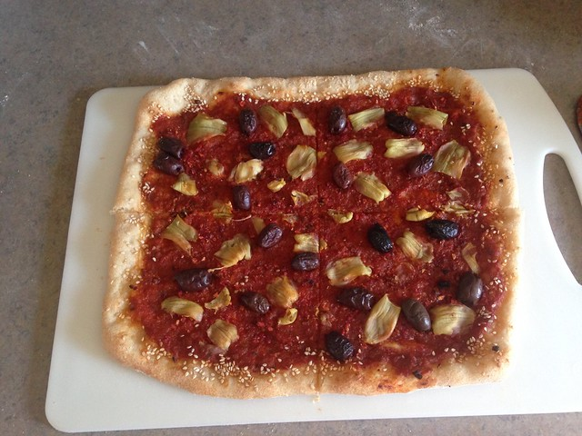 rectangle-shaped pizza after baking