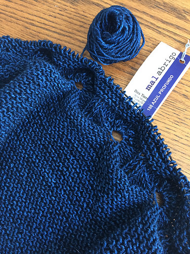 Kathy is finished section one of her Odyssey Shawl by Joji for the Malabrigo KAL!