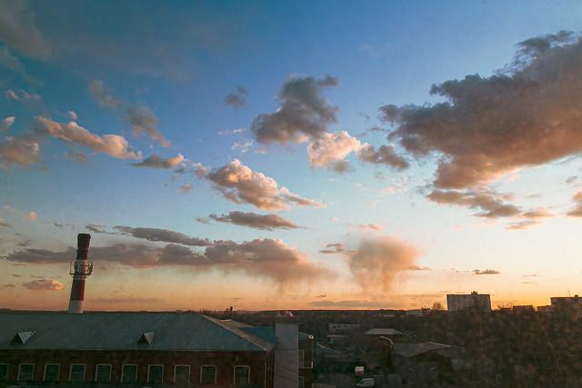 View from the window. Savvino sunset
