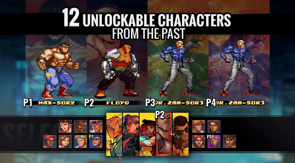 Streets of Rage 4-12 caracteres desbloqueáveis