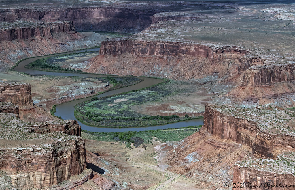 Mineral Canyon Bottom and Airstrip along the Green River on the border of Canyonlands National Park Aerial