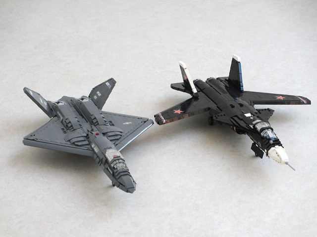 YF-23 and S-37 fighter prototypes