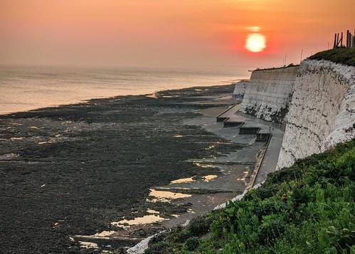 saltdean beach cliff sunset lowtide evening brighton southcoast