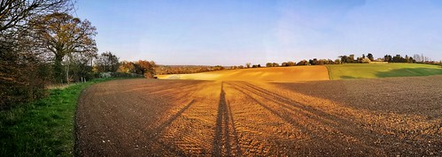 shadows sunset huaweimobile panorama fields rural brown ploughed hertfordshire home county