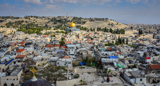 Temple Mount and Dome of the Rock viewed from Bell Tower of Church of the Redeemer in Old City of Jerusalem Israel