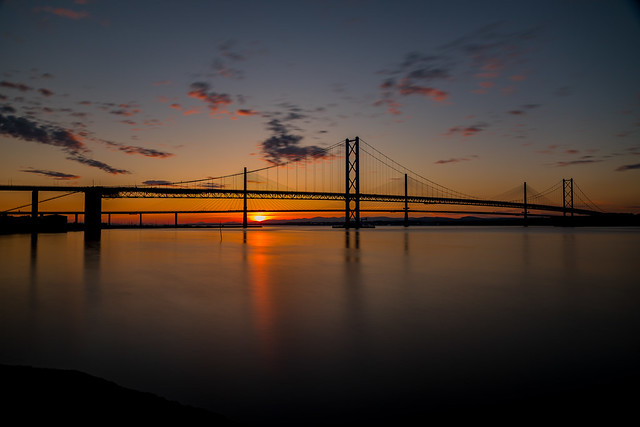 Forth Road Bridge with Queensferry Crossing
