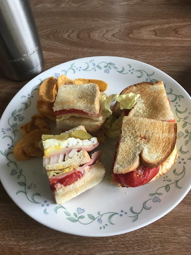 Egg ham cheese sandwich