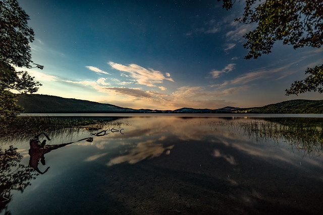 Moonlight night Lake Laach
