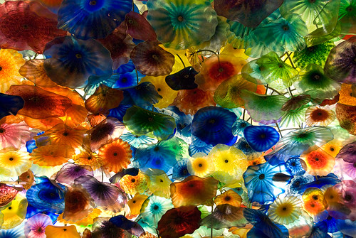 Chihuly's blown-glass sculpture called 'Fiori di Como' that forms the ceiling of the Bellagio's lobby in Las Vegas, USA