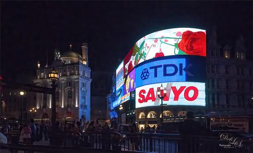 Image taken at night at Piccadilly Circus in London