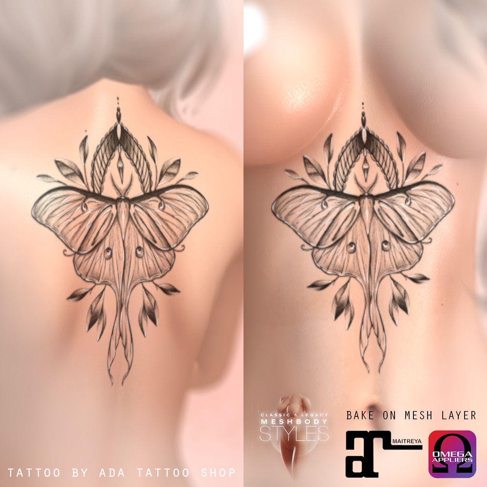 ADA Tattoo SHOP Luna Moth UNDERBOOB and BACK tattoo