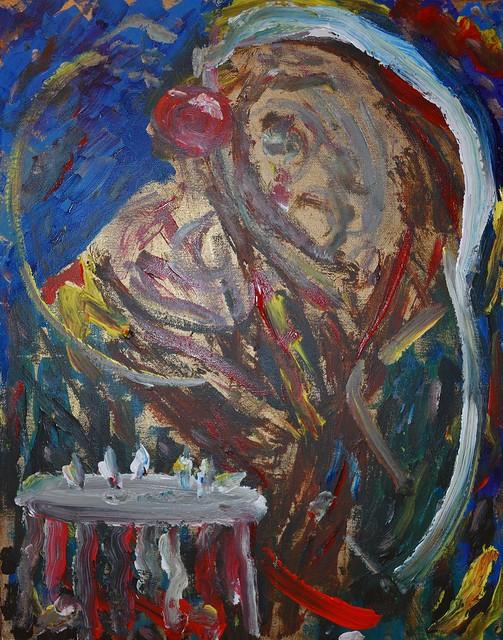 Sketch, acrylic on canvas, The Tears of a Clown