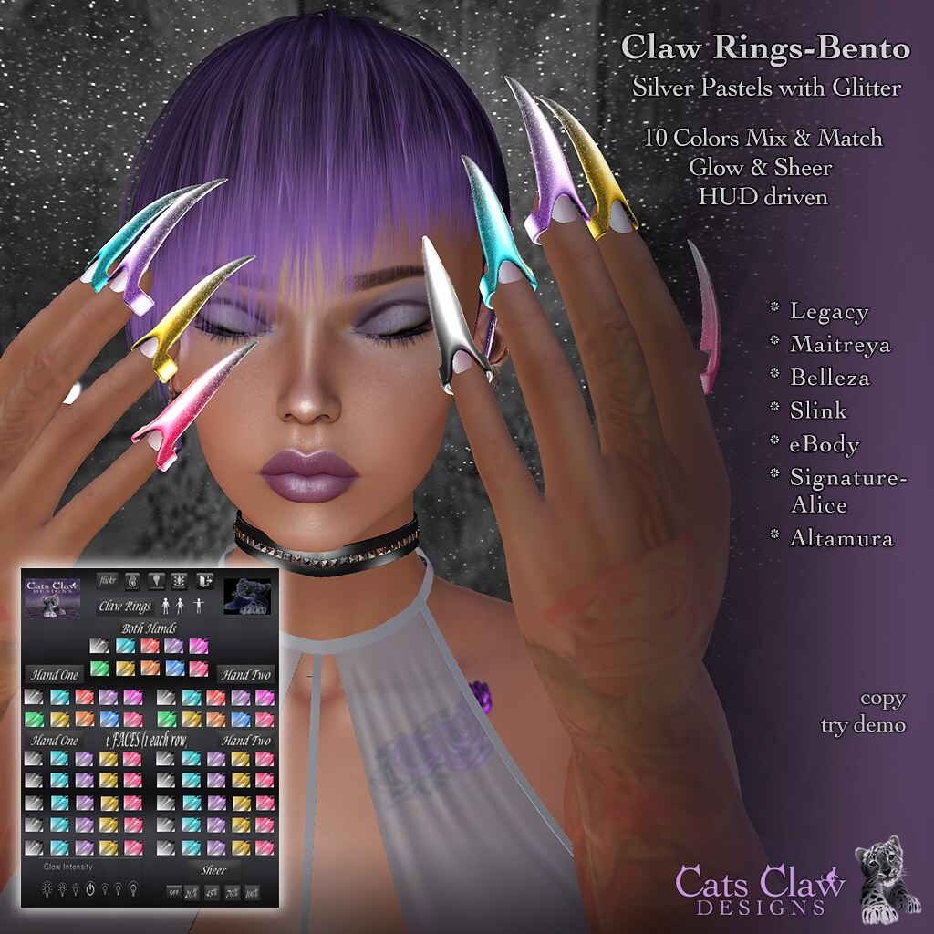 _CCD_ ad Claw Rings-Bento Silver Pastels with Glitter