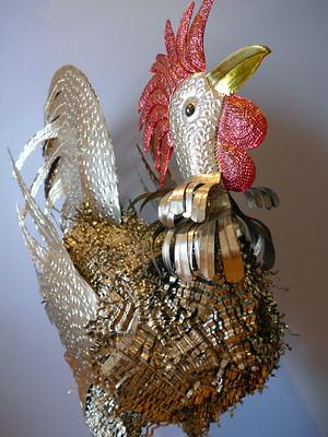 A metal rooster in Puebla, Mexico
