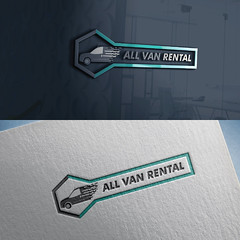 All Van Rental Service Logo Design with Mockups