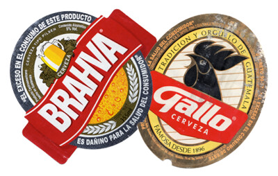 Labels of Guatemalan beer Brahva and Gallo
