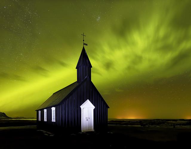 Aurora Borealis, Budir Church, Iceland