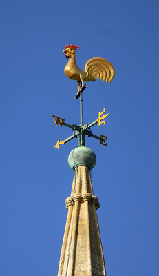 A rooster weathervane in Tenby, Wales