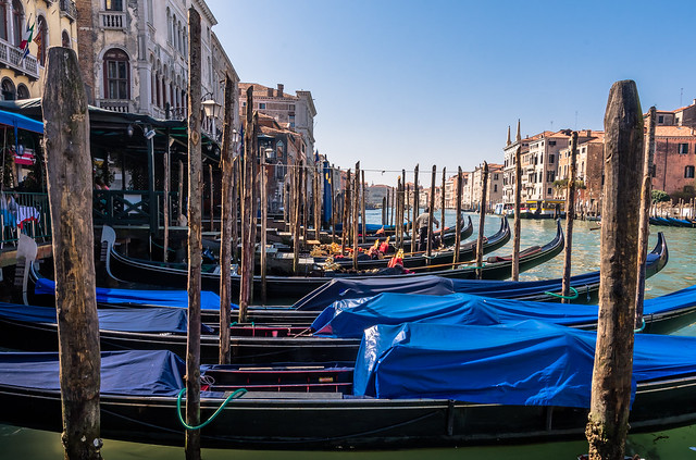 Gondolas moored on the Grand Canal