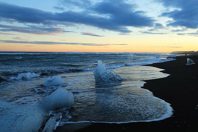 Sunset - Jokulsarlon (Diamond beach) - Iceland