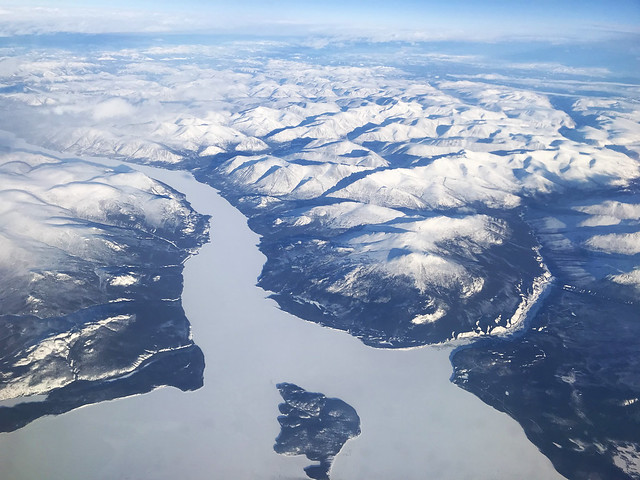 Aerial view of snowy mountains, Canada (Explored)