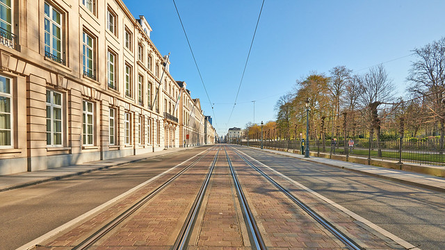 The Royale street at Brussels without any people during the confinement period.