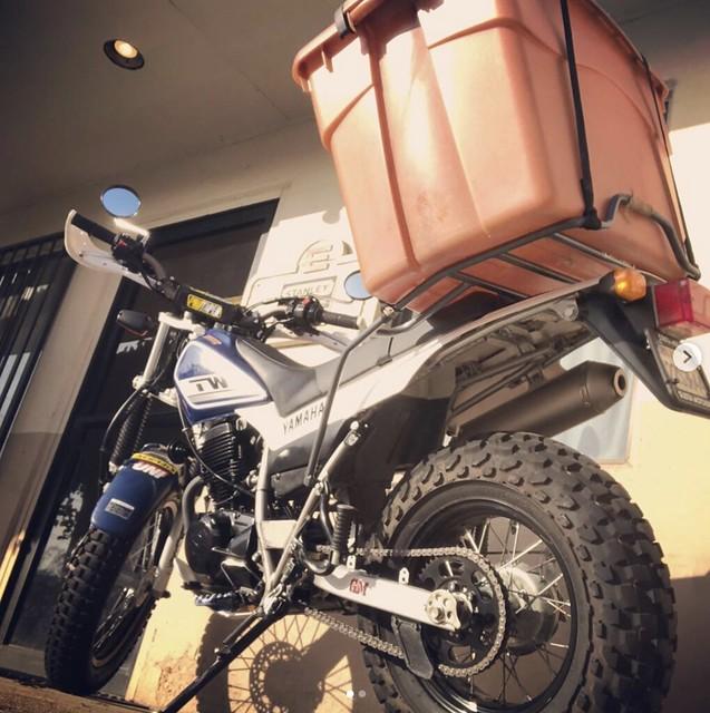 TW200 with CycleRacks Rear Rack Hauling Stuff - GCRad1