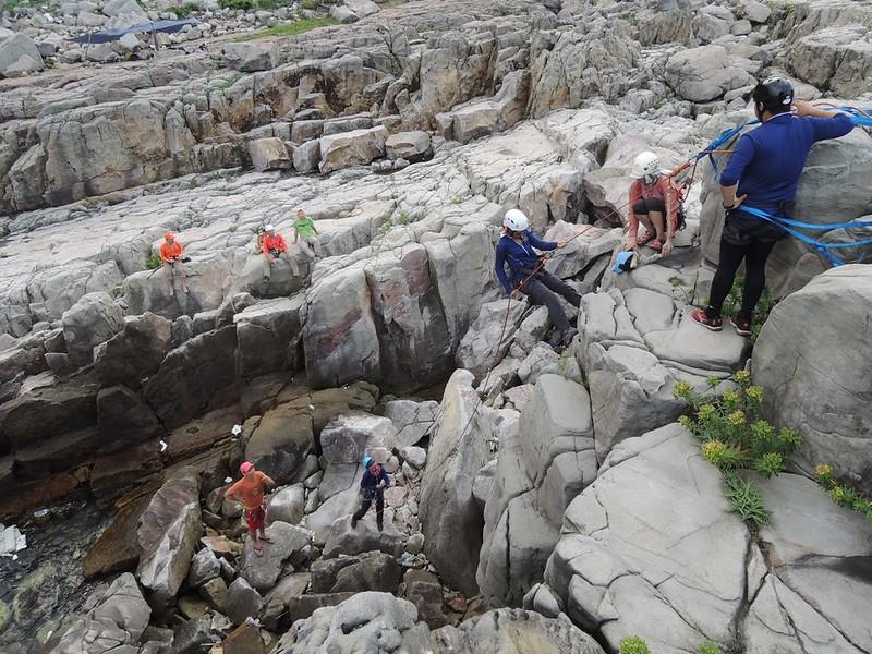 Hiking guides' rock climbing training. Photo by LOHAS Association