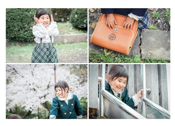 幼稚園入園記念の写真 桜 制服と通園バッグ