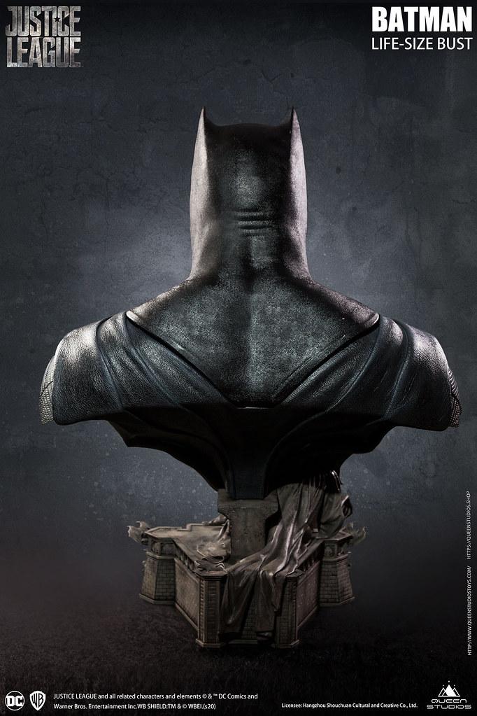 極致擬真還原的屁股下巴!Queen Studios《正義聯盟》蝙蝠俠 1:1比例 半身胸像(Justice League Batman Life-Size Bust)