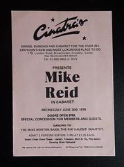 Ticket for Mike Reid at Cinatra's, Croydon