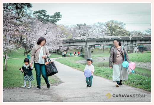 桜が満開の岡崎公園(愛知県岡崎市)で家族写真