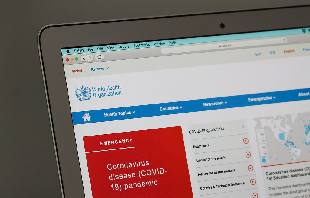 World Health Organization website open on a computer screen