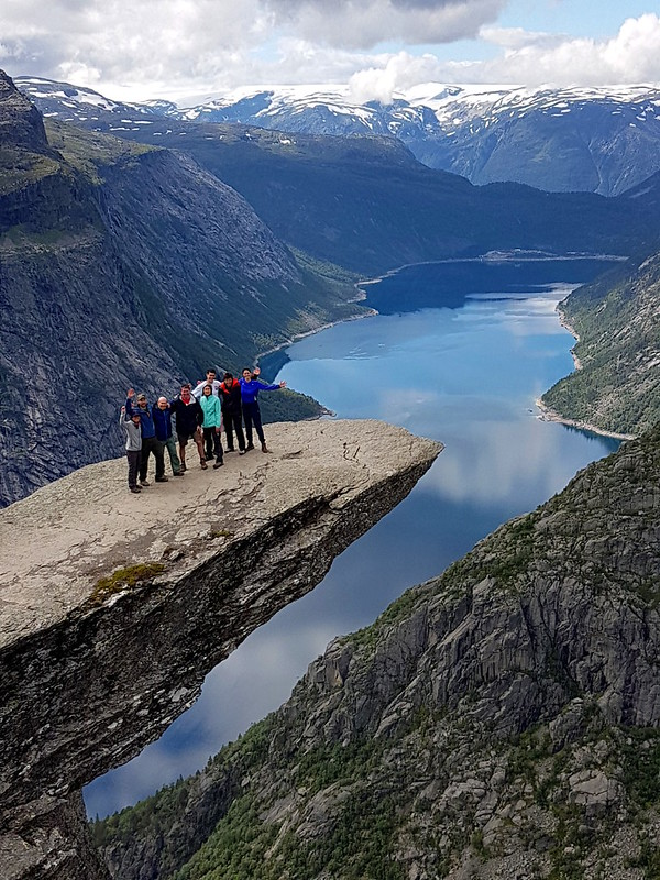 A small group hike in Trolltunga Norway