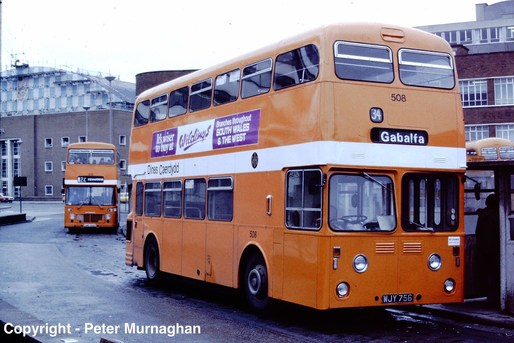 Ex Plymouth Atlantean WJY 756 in Cardiff Bus Station copy