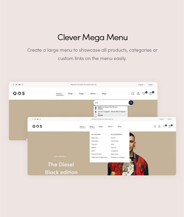 Clever Mega Menu