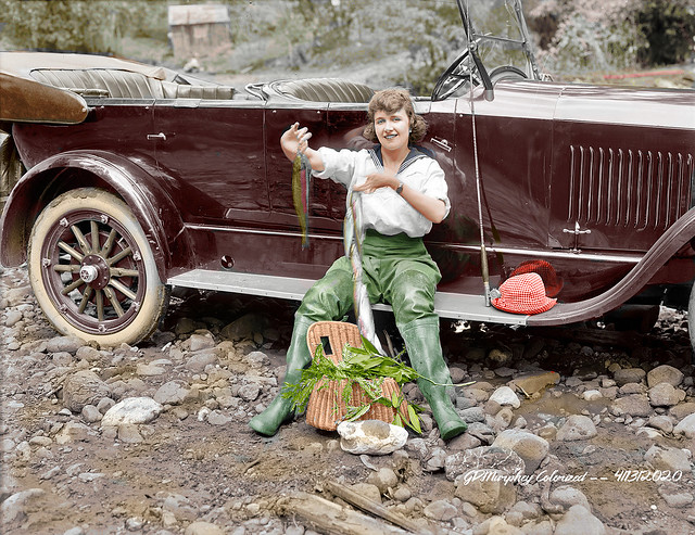 1919 Studebaker Fly Fishing Trout Colorized