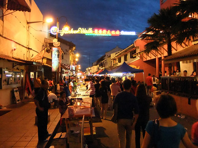 The night market in Melaka, Malaysia