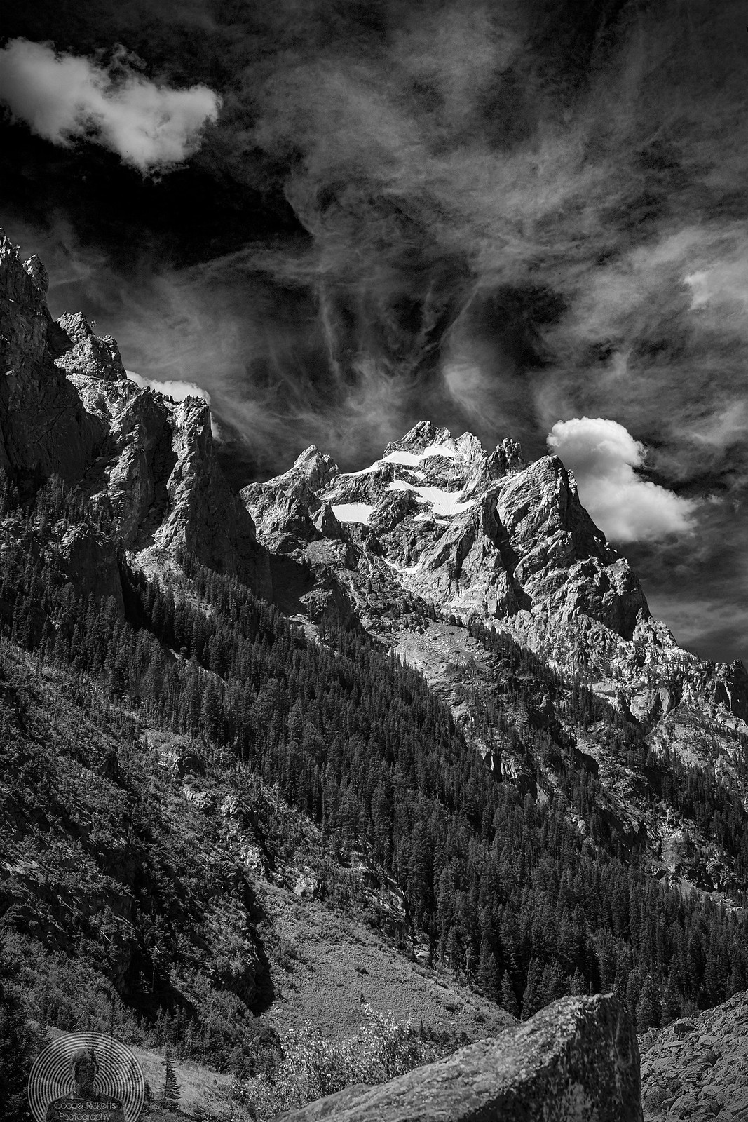 Grand Tetons Peak B/W
