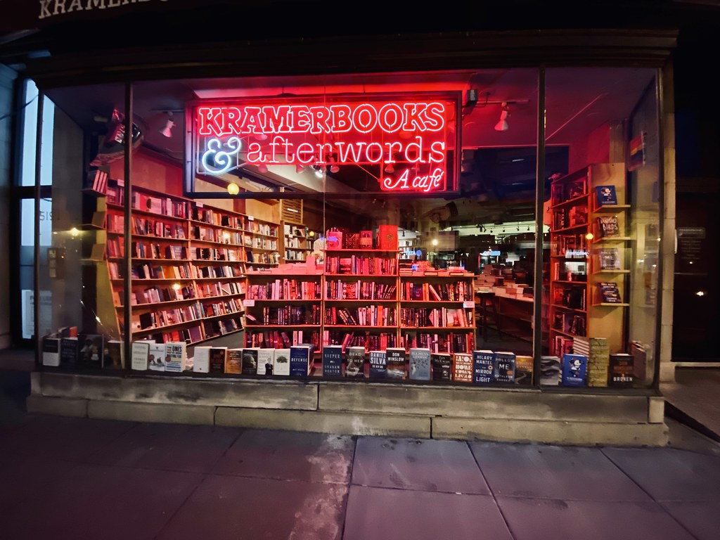 Kramerbooks closed at eight on a Sunday night