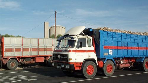 camions carregats de remolatxa per la fàbrica de sucre Ebro de Ciudad Real