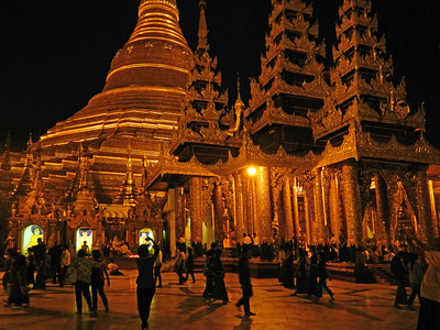 About the only thing lit up at night in Yangon, Myanmar is the Shwedagon Buddhist temple