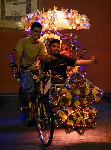 A lit-up rickshaw in Melaka, Malaysia
