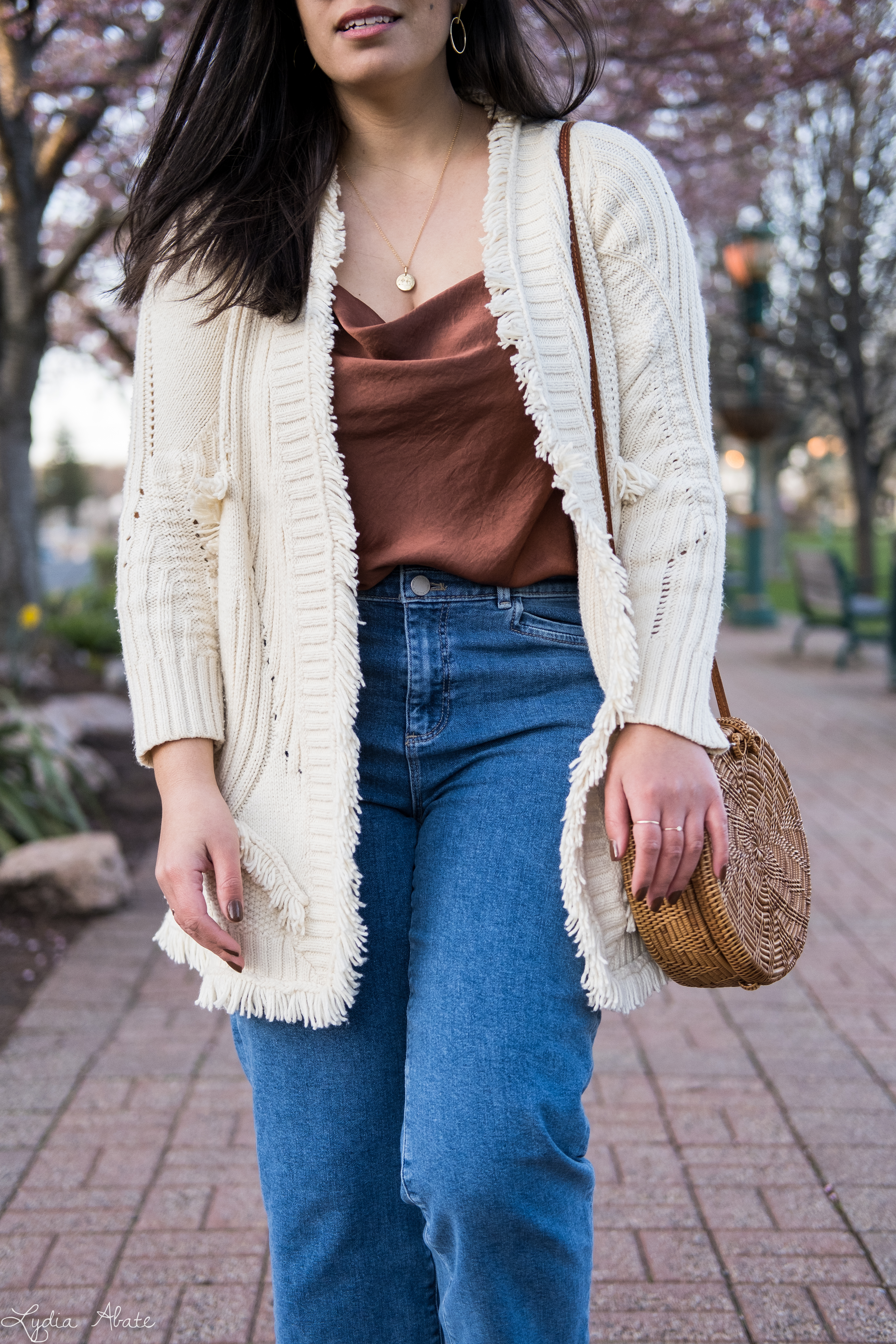 fringe cardigan, rust cowl neck camisole, straight leg jeans, round straw bag-19.jpg
