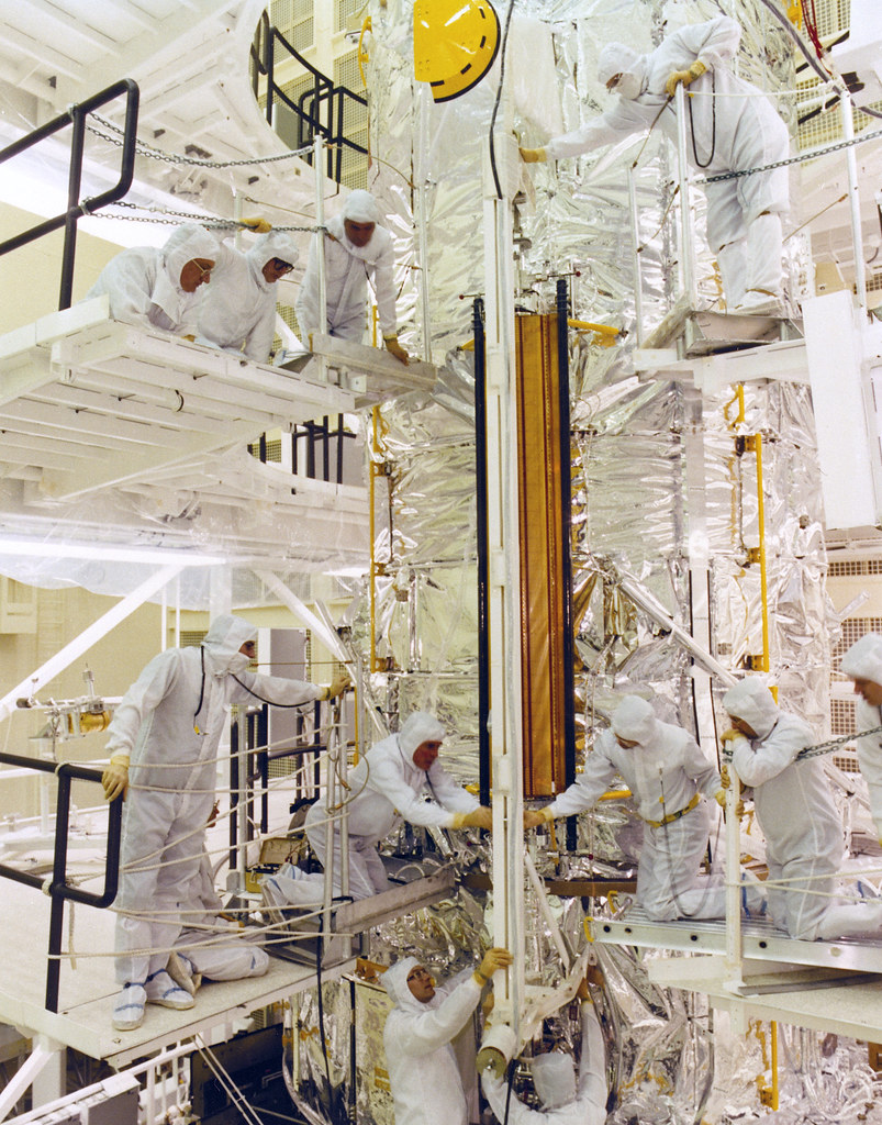 Hubble Space Telescope at Lockheed - Solar Array Fit Check