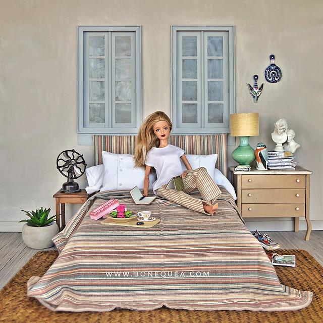 Diorama con ventanas: dormitorio cálido
