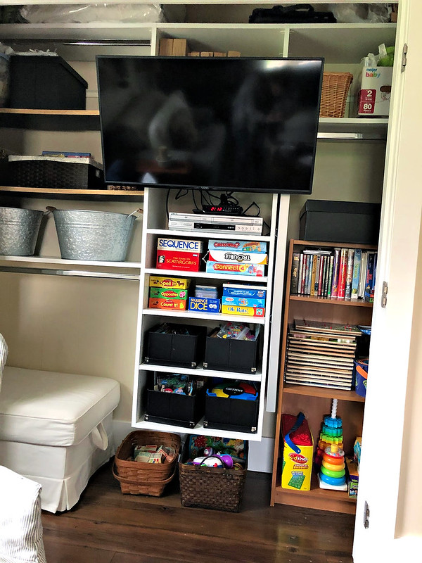 den closet and entertainment area