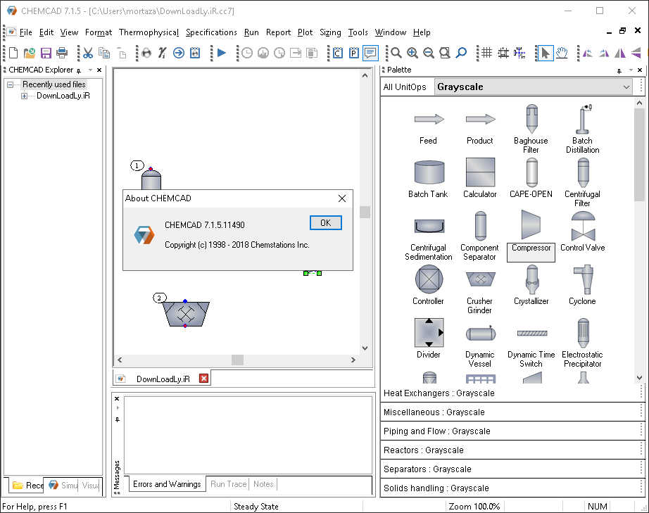 Working with Chemstations CHEMCAD Suite 7.1.5.11490 full license